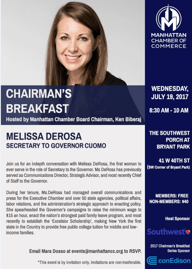 The Chamber hosts Chairman's Breakfast with Melissa DeRosa, Secretary to Governor Cuomo